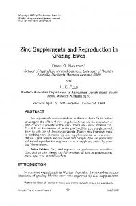Zinc supplements and reproduction in grazing ewes - Springer Link