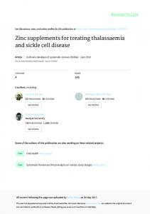 Zinc supplements for treating thalassaemia and sickle