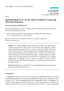 Zintl Salts Ba2P7X - CiteSeerX