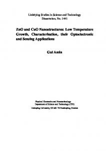ZnO and CuO Nanostructures