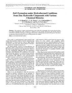 ZnO formation under hydrothermal conditions from zinc ... - Springer Link
