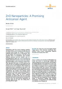 ZnO Nanoparticles: A Promising Anticancer Agent