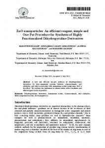 ZnO nanoparticles: An efficient reagent, simple and One-Pot ...