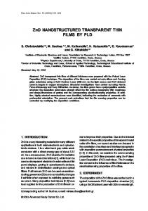 ZnO NANOSTRUCTURED TRANSPARENT THIN FILMS BY PLD