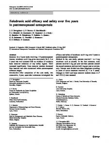 Zoledronic acid efficacy and safety over five years in postmenopausal ...