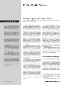 Zoning, equity, and public health.