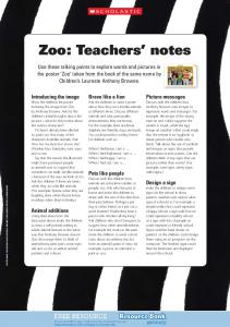 Zoo: Teachers' notes - Scholastic