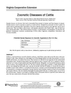 Zoonotic Diseases of Cattle - Virginia Tech