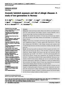 Zoonotic helminth exposure and risk of allergic ... - Wiley Online Library