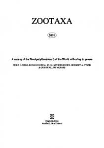 Zootaxa, A catalog of the Tenuipalpidae (Acari)