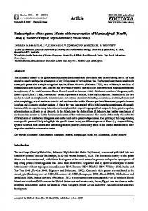 Zootaxa, Redescription of the genus Manta with ...
