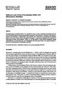 Zootaxa,Rediscovery and revision of ... - Semantic Scholar