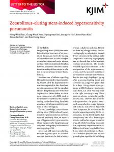 Zotarolimus-eluting stent-induced hypersensitivity pneumonitis